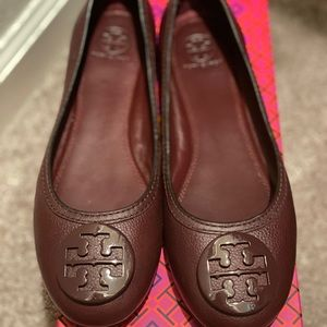 Tory Burch Abby Ballet Tumbled Leather (Like New)